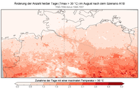 Summer days index per time perio in Heisse Tage ND A1B diff Aug.png